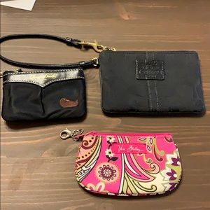 3 wallets: Coach, Dooney & Bourke, Very Bradley